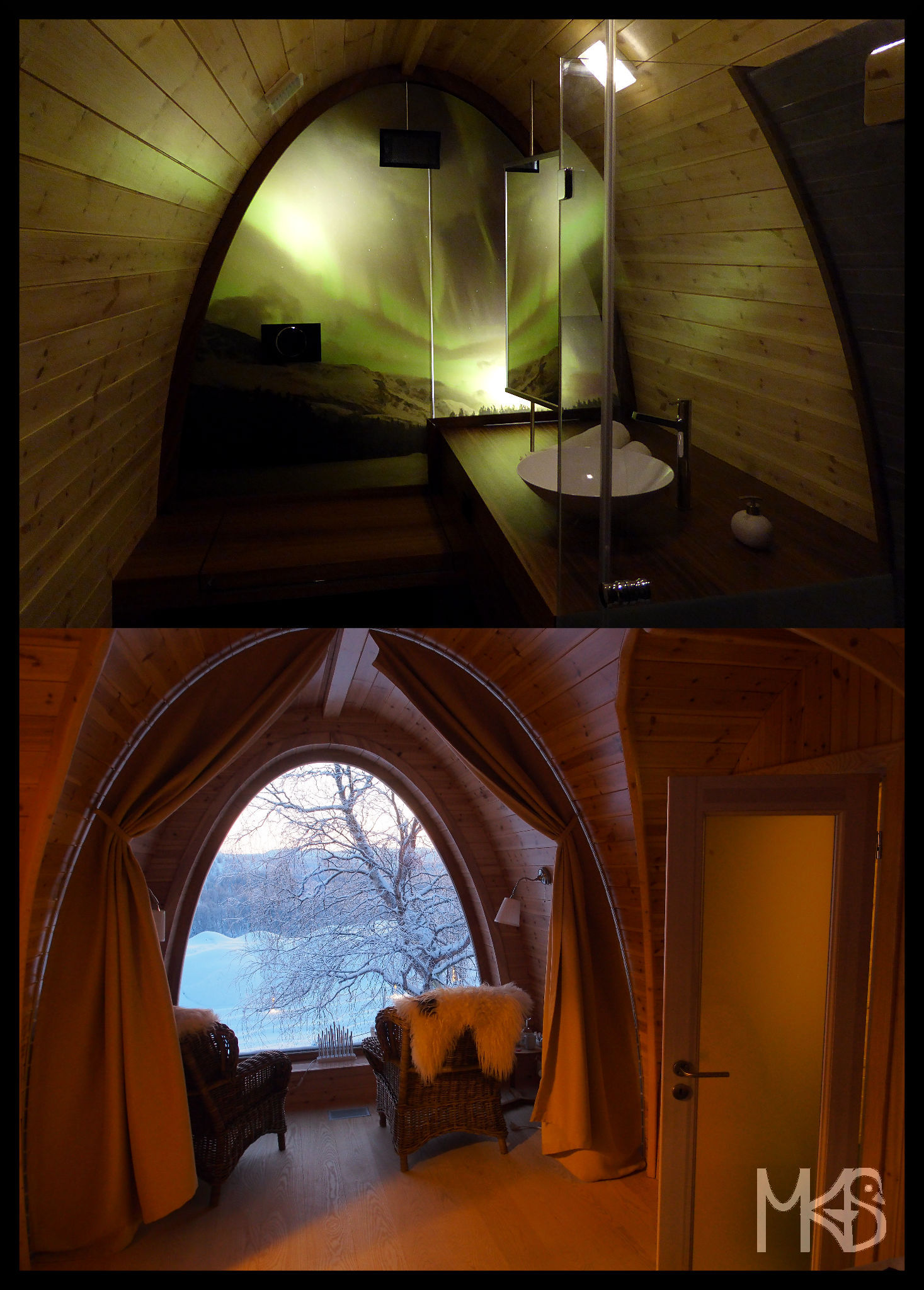 Inside Gamme cabins, the Snow Hotel, Kirkenes