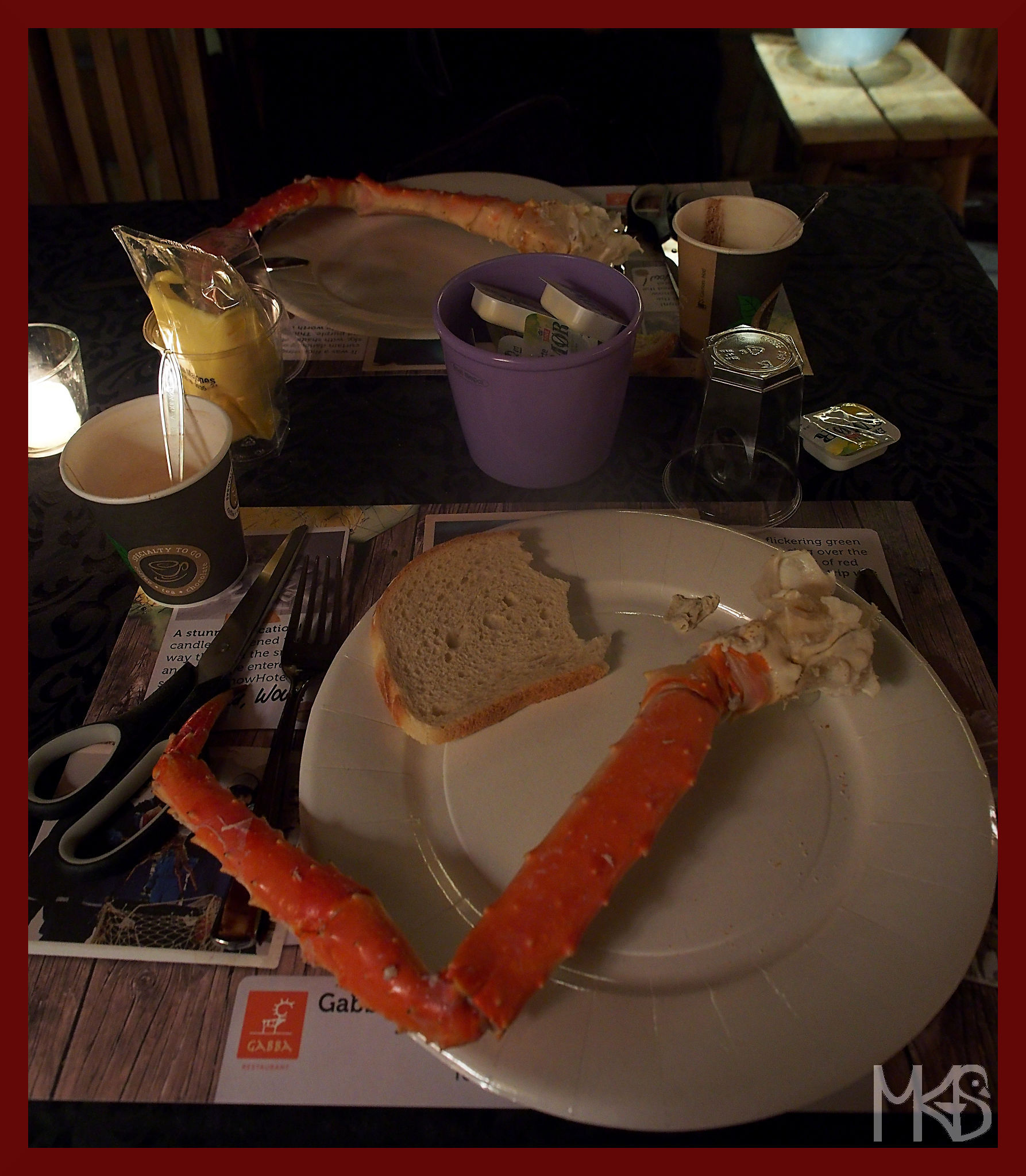 Eating crabs, Snow Hotel, Kirkenes, Norway