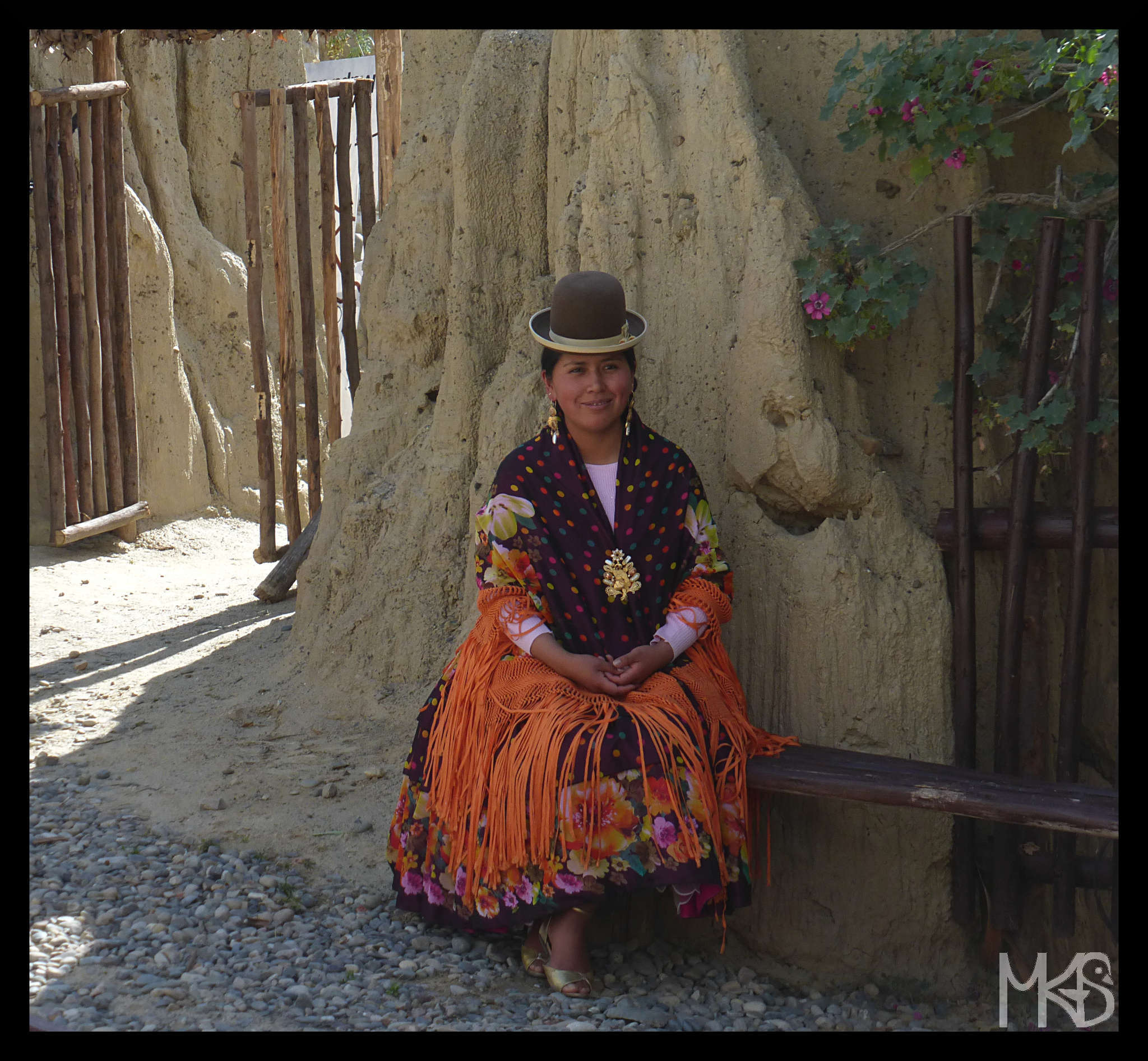 Woman wearing traditional Bolivian clothes
