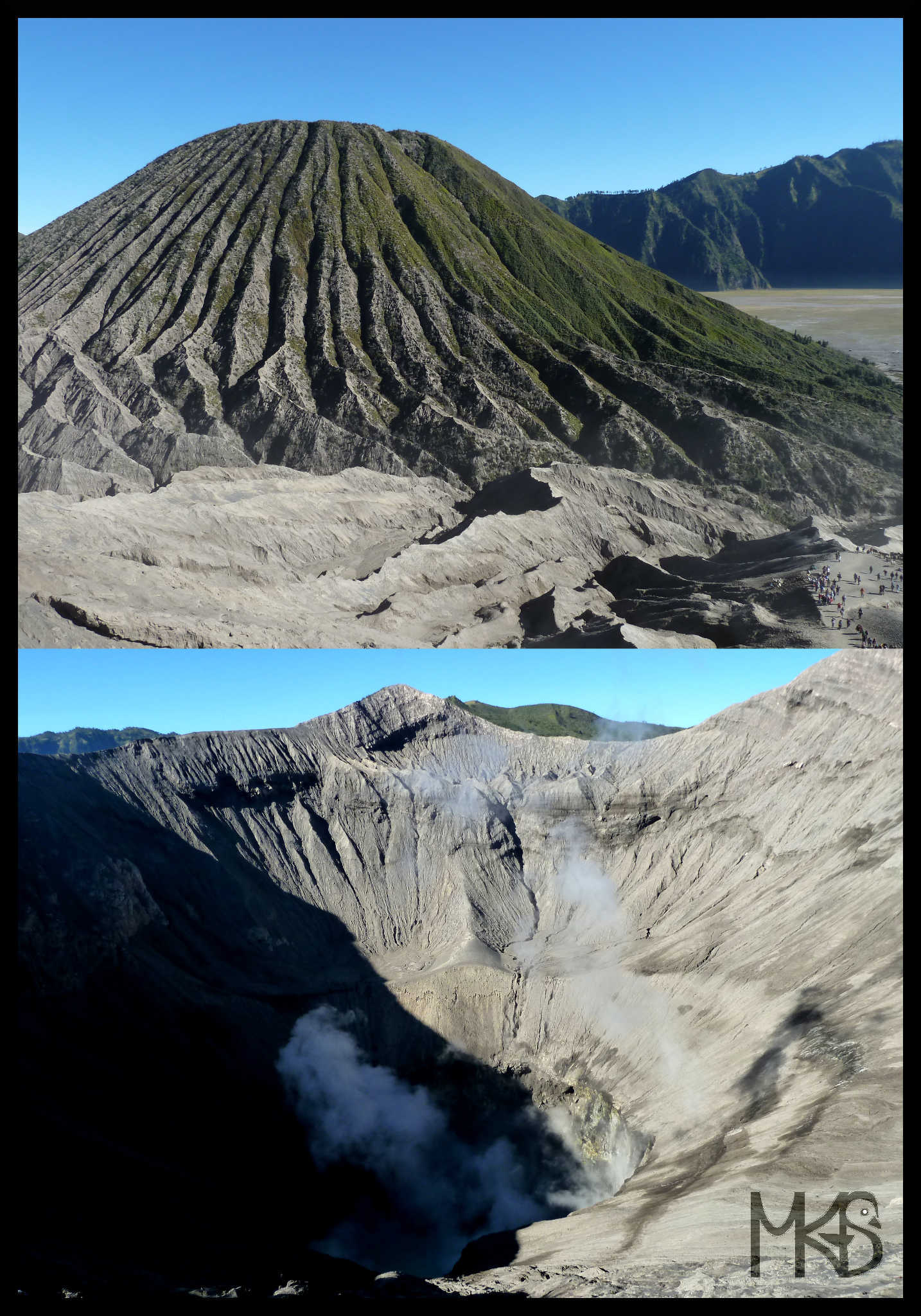 View into and from the Mount Bromo crater